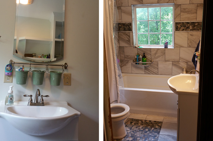 Smart use of a small bathroom in morganton vision design for Small bathroom designs bloggers