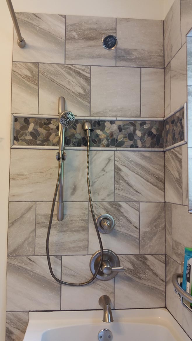 Close-up of shower custom tile
