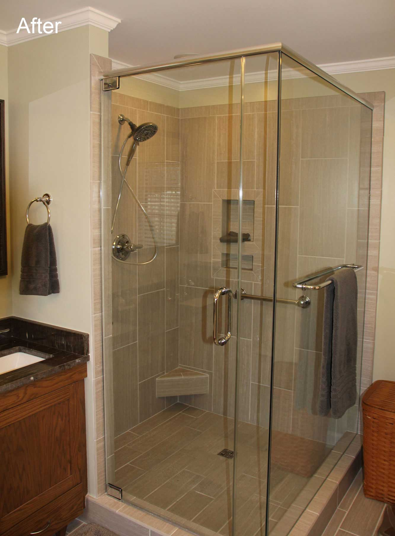 Open glass shower surround after remodel