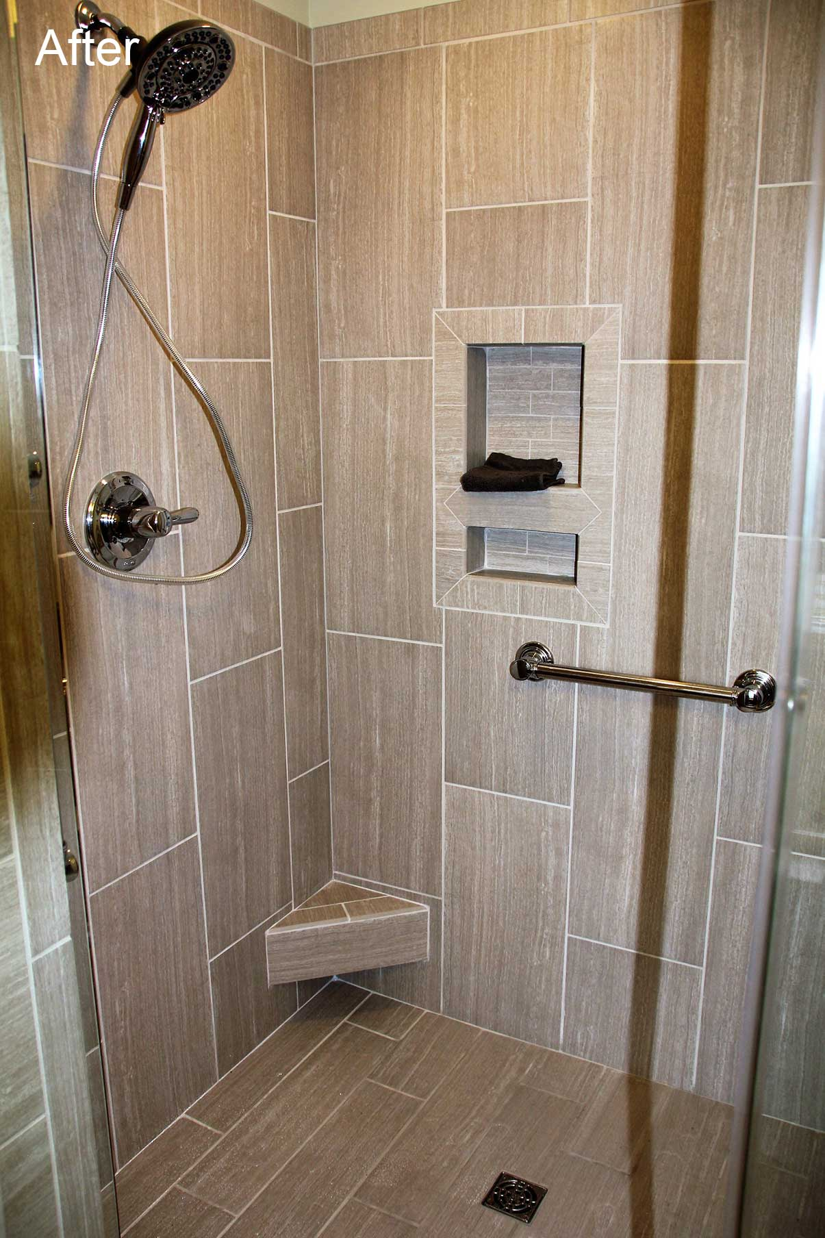 Close-up of shower interior after remodel