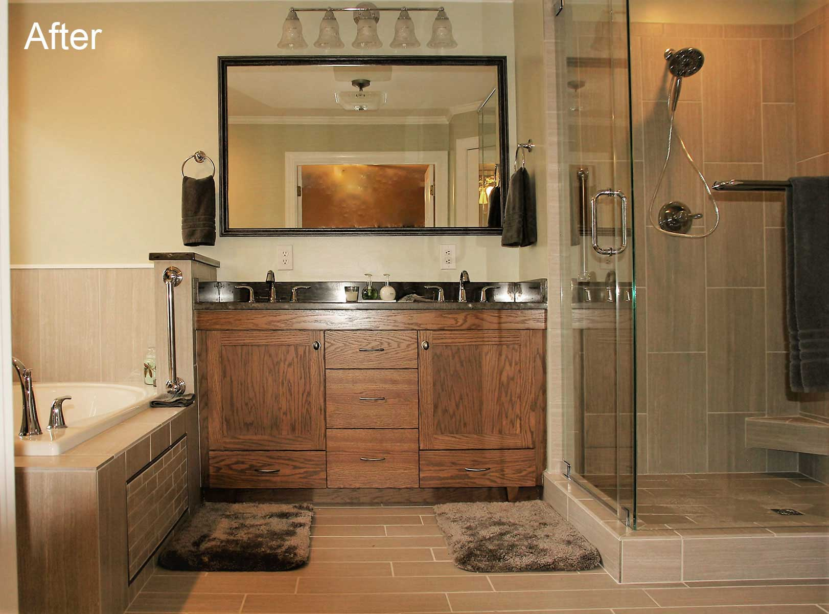 Full view into newly remodeled bathroom with natural wood vanity