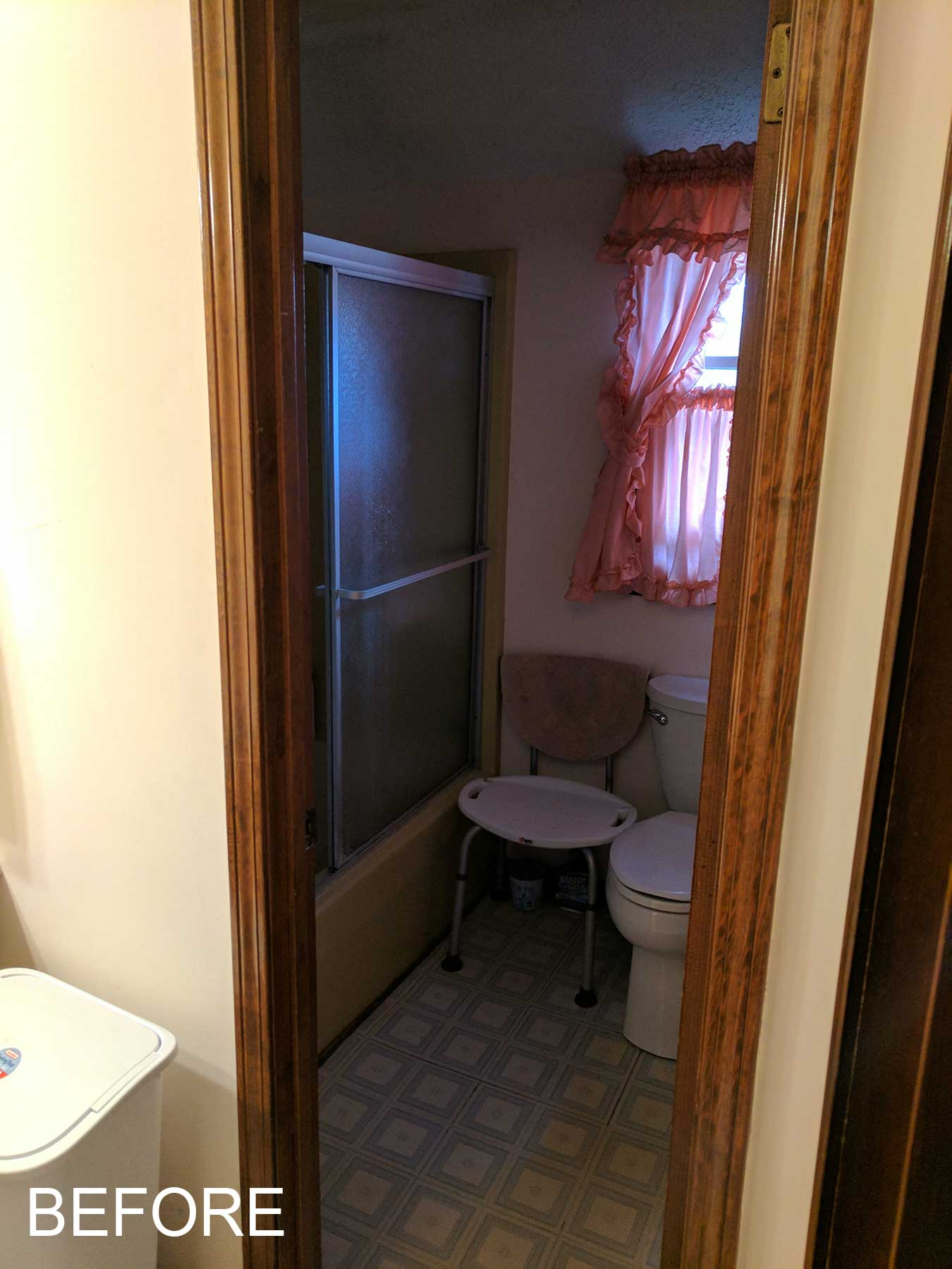 View of shower and toilet