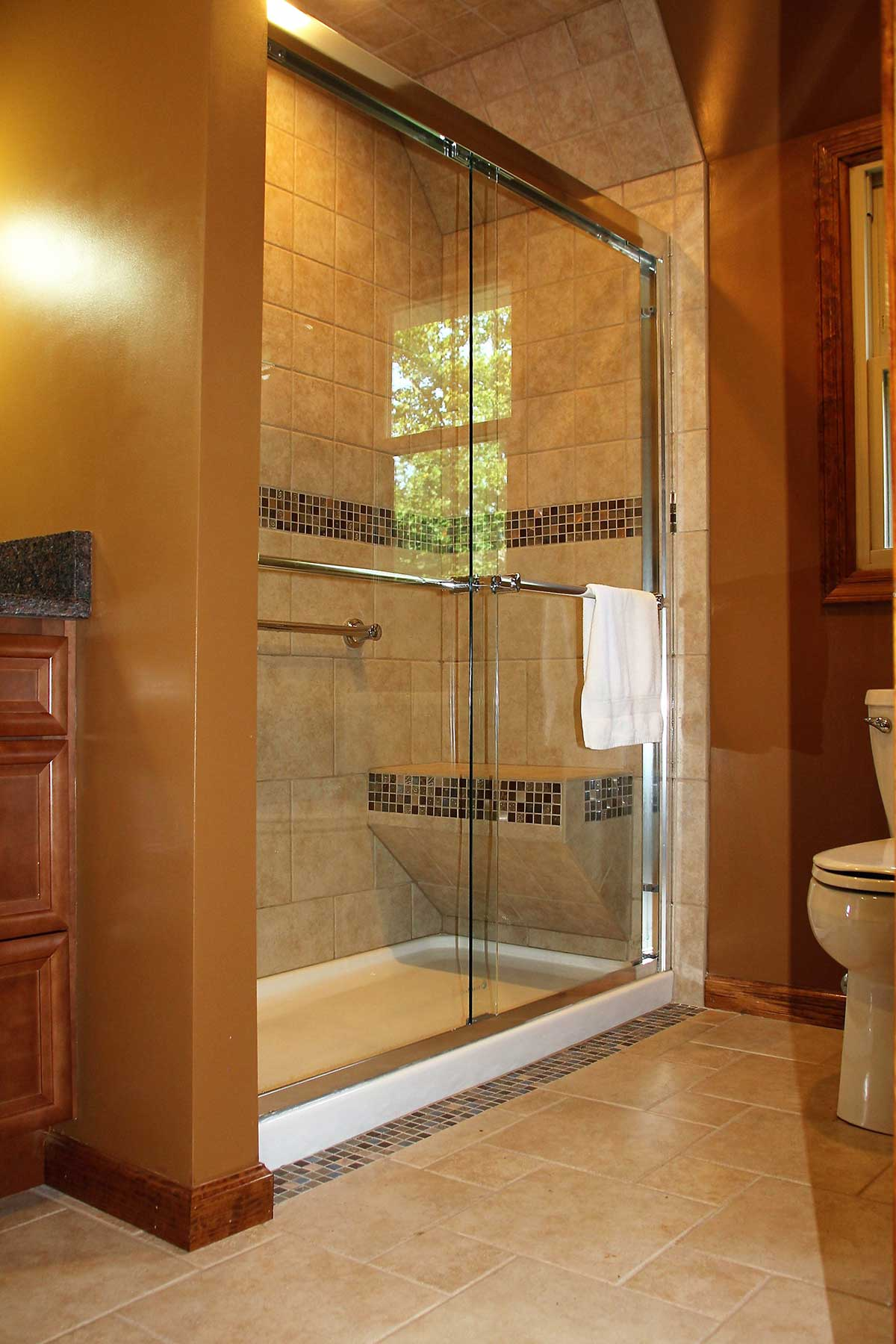 View of walk-in shower