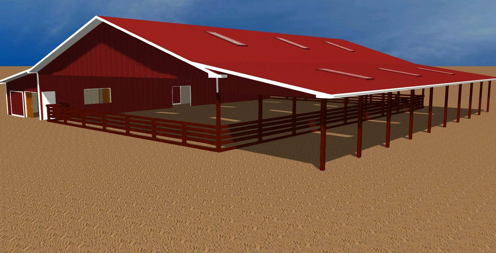 Alternate view computer rendering of Equestrian Facility design