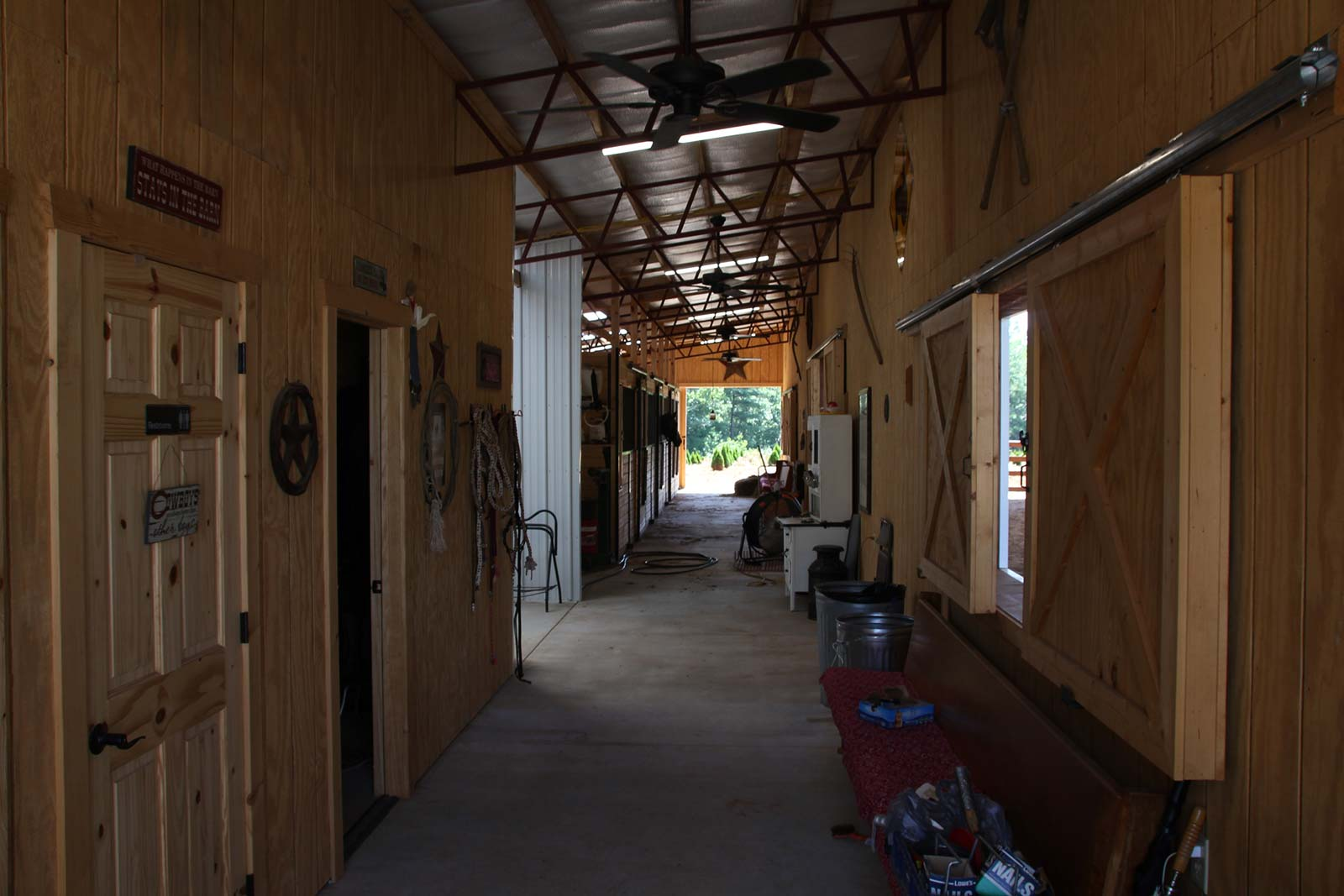 View through horse stable area
