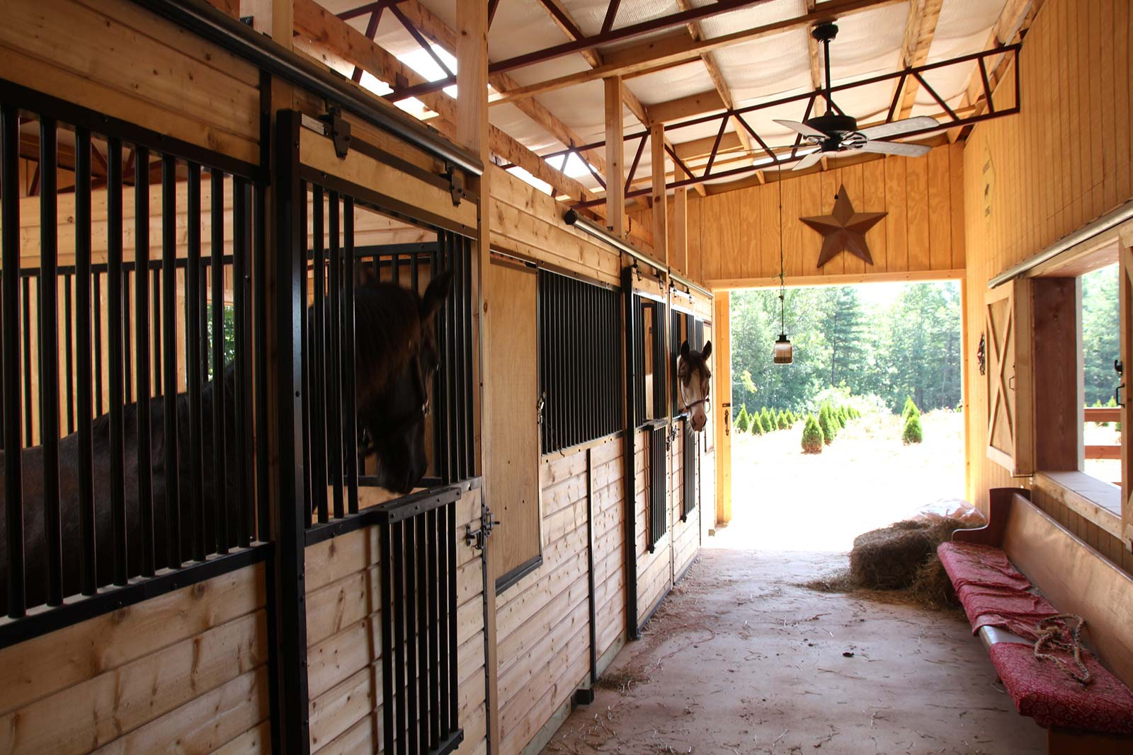 Close-up of horse stalls