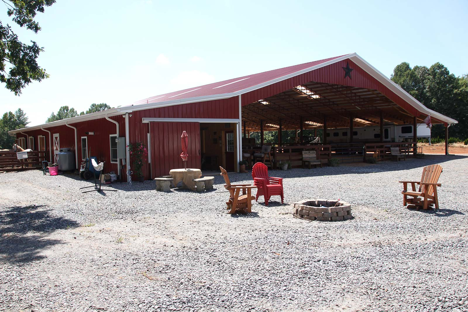 Outside view of Equestrian Facility built in Caldwell County
