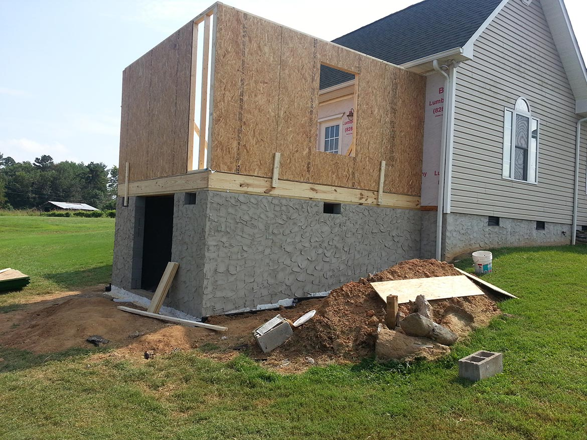 Home addition with walls in place