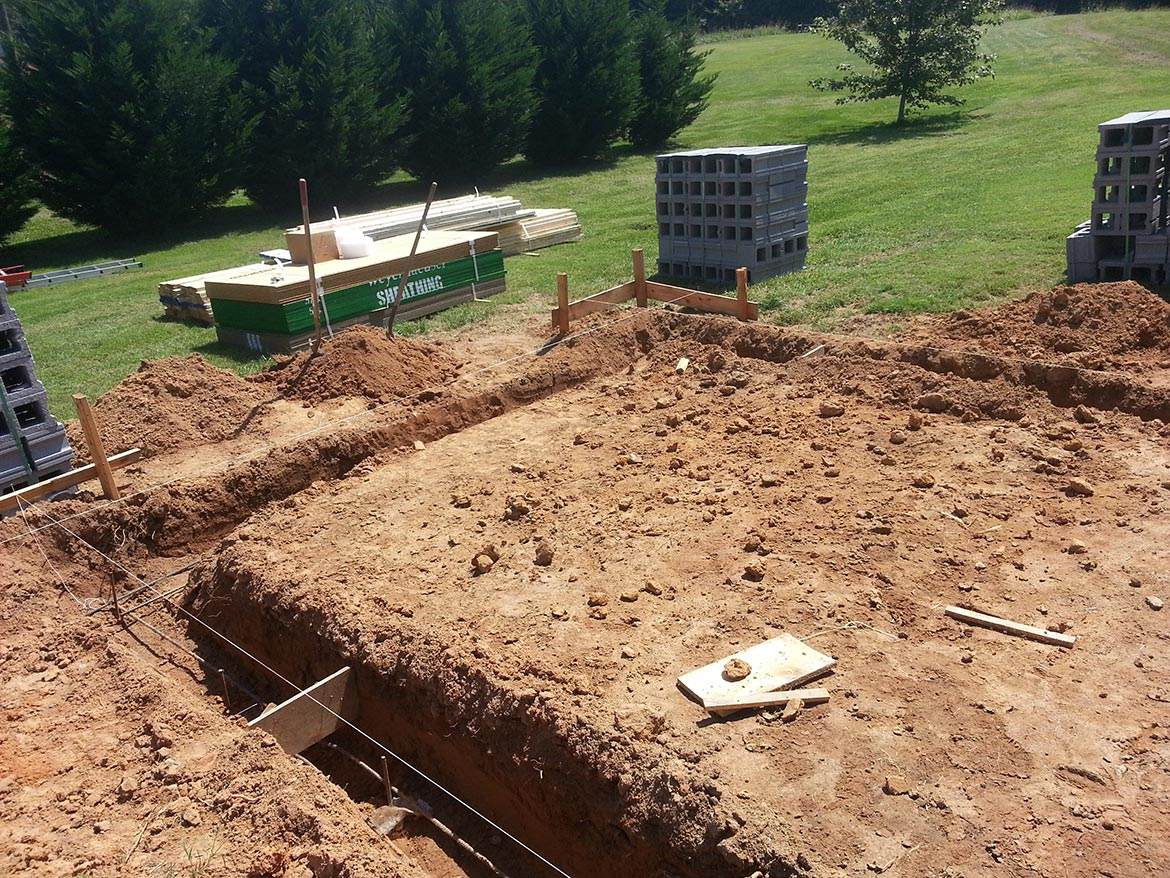 Trenches for the foundation footings