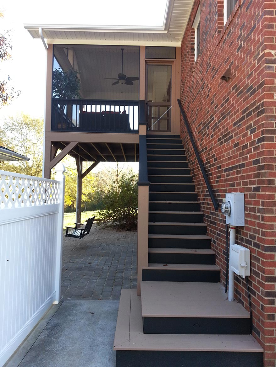 View of stairs leading to second floor screen room addition