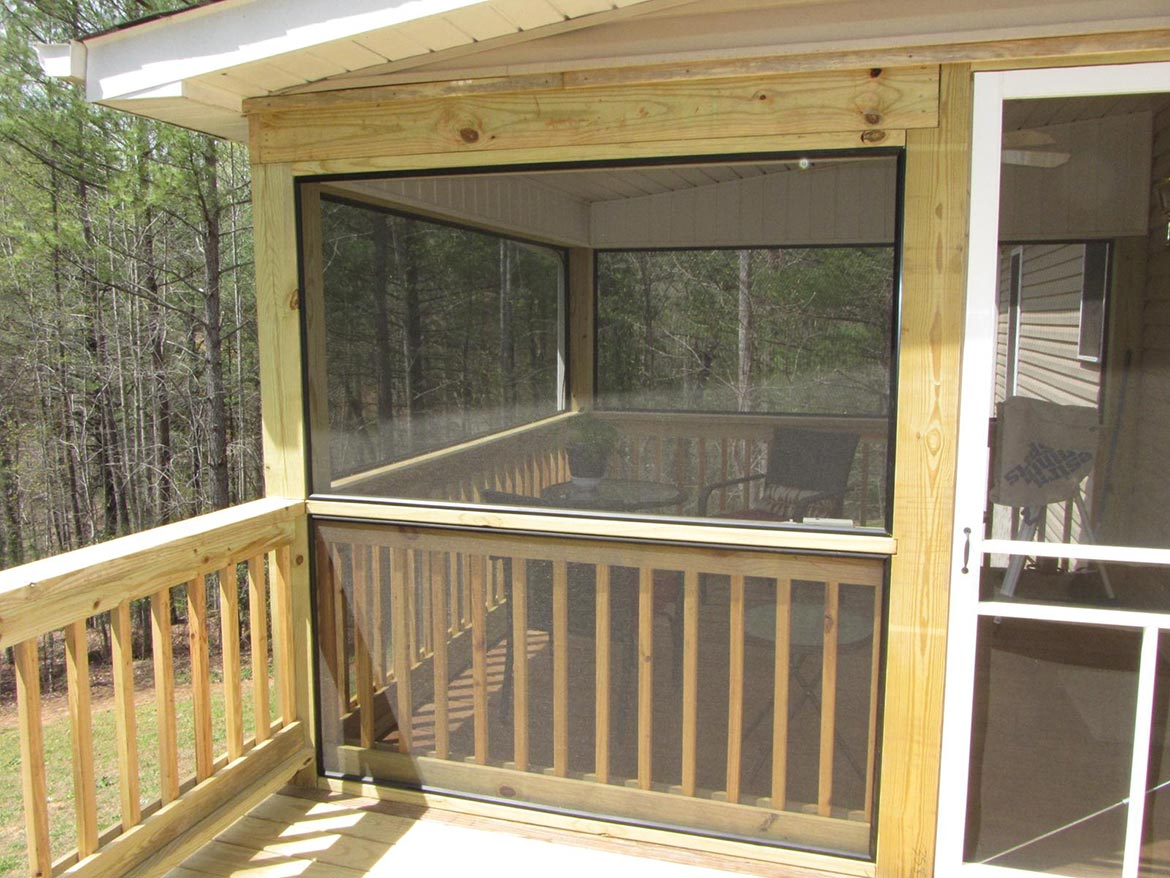 Outside view of newly remodeled screen porch